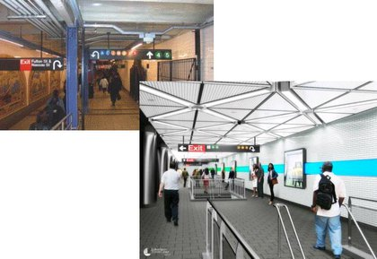 """Subway riders currently use """"ramps, stairs, and passageways to access their trains, transfer from one subway line to another, or exit the station"""" but the MTA wants to build more open, direct ways for people to travel between lines."""