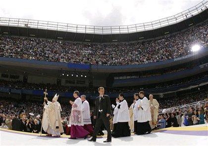 Pope Benedict greets the faithful at Yankee Stadium.