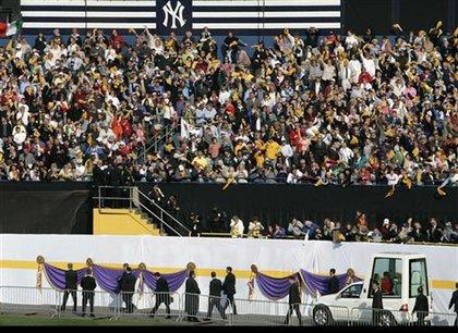 The Papal Mass crowd at Yankee Stadium.