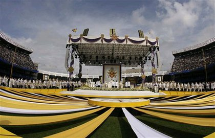 The stage built for Papal Mass at Yankee Stadium.
