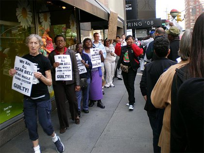 Protesters outside of Bloomingdale's.