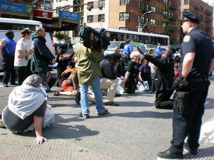 Camera crew captures the sit-in.