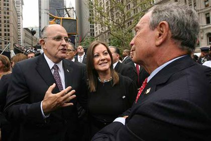 Former mayor Rudy Giuliani, his wife Judith, and Mayor Bloomberg