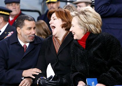 Governor Paterson, City Council Speaker Quinn and Senator Clinton share a laugh--we bet Paterson told a joke.