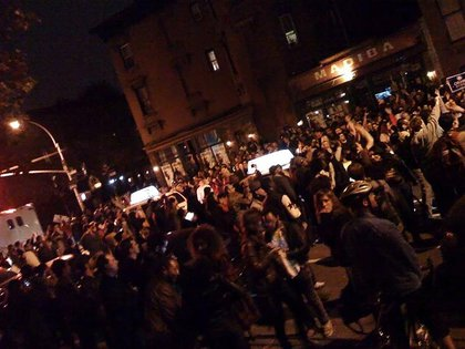 People dancing on the streets of Fort Greene