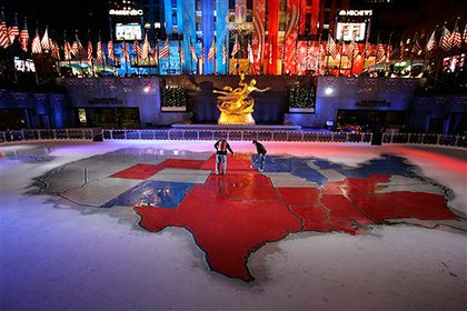 NBC's electoral map on Rockefeller Plaza's ice rink