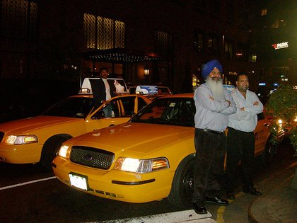 Taxi cab drivers had to wait for the protest to pass before they could drive again.