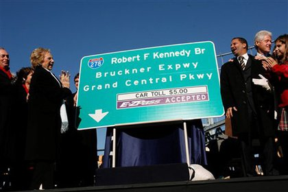 Unveiling a new sign for the Robert F. Kennedy Bridge.