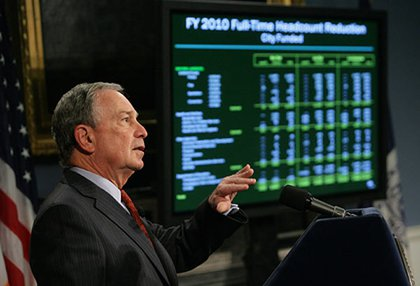 Mayor Bloomberg, in the middle of his bummer of a budget slideshow