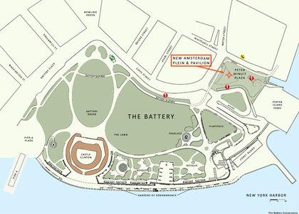Map showing where the New Amsterdam Plein & Pavilion is located