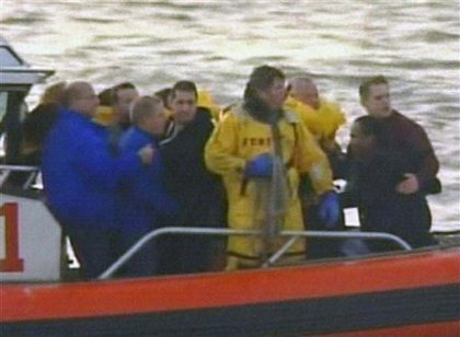 Passengers and rescuers