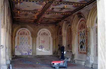 Graffiti on the Bethesda Terrace arcade walls and pillars.