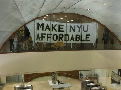 One of the messages from Take Back NYU