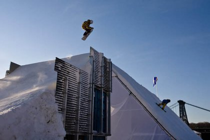 Imagine what Shaun White (not pictured or on site this morning) can do off this jump.