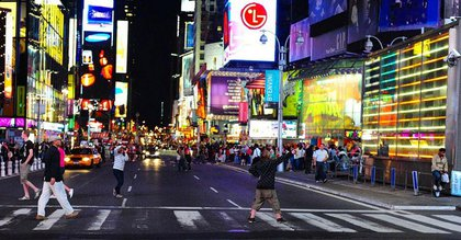 Photograph of Times Square by djwerdna on Flickr—notice how pedestrian take their chances with vehicles.