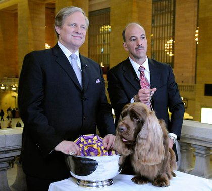 Westminster Kennel Club communications director, Sommer and Stump with his trophy