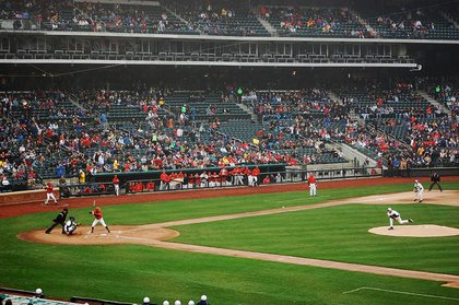 """Photographer tergiversation says, """"the first pitch at the first game ever in citifield"""" was a """"ball, low"""""""