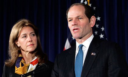 """Eliot Spitzer met the press, with wife Silda Wall Spitzer at his side, saying, """"I have acted in a way that violates my obligations to my family, that violates my -- or any -- sense of right and wrong. I apologize first, and most importantly, to my family. I apologize to the public, whom I promised better.""""  .msnbcLinks {font-size:11px; font-family:Arial, Helvetica, sans-serif; color: #999; margin-top: 5px; background: transparent; text-align: center; width: 425px;} .msnbcLinks a {text-decoration:none !important; border-bottom: 1px dotted #999 !important; font-weight:normal !important; height: 13px;} .msnbcLinks a:link, .msnbcLinks a:visited {color: #5799db !important;} .msnbcLinks a:hover, .msnbcLinks a:active {color:#CC0000 !important;} Visit msnbc.com for Breaking News, World News, and News about the EconomyIn the days following, there was talk of his habits, resignation, and how the feds caught him. Spitzer ultimately resigned on March 12, retreating to work for his father's real estate company.  Post-script: It turned out Spitzer was involved with Troopergate (his 2007 scandal), the feds didn't press charges against him for being a john, and Spitzer started writing for Slate."""