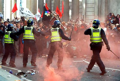 Riot police in London, vs. G20 protesters
