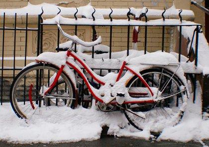 Lots of snowy bikes