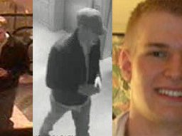 Surveillance images of the suspected Craigslist killer at left; far right, photograph of Philip Markoff