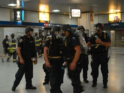 From the 2007 Penn Station Drill: First responders coordinate actions on the main level of Penn Station.