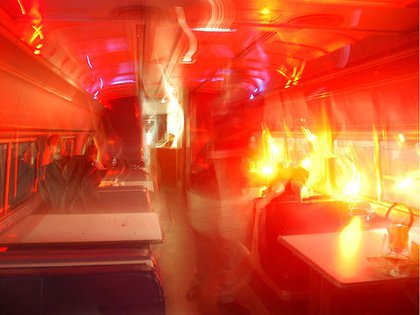 From the 2007 Penn Station Drill: Strobe lights simulate fire.