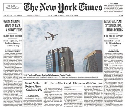 The NY Times features the photograph, but the article isn't on the front page.
