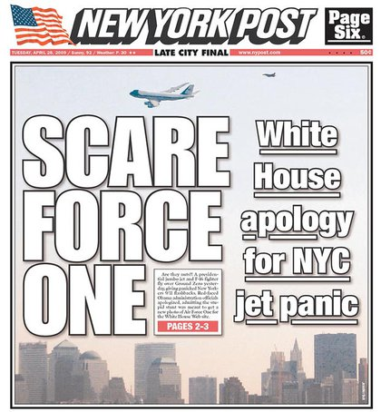 """An apparent iteration on the Post's earlier """"Air Farce One"""" headline yesterday."""