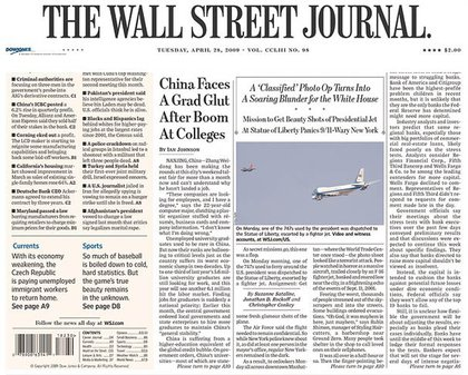 A below-the-fold front page mention in the Wall Street Journal.