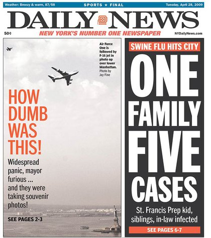 The Daily News splits between the plane and that other fear, the swine flu.