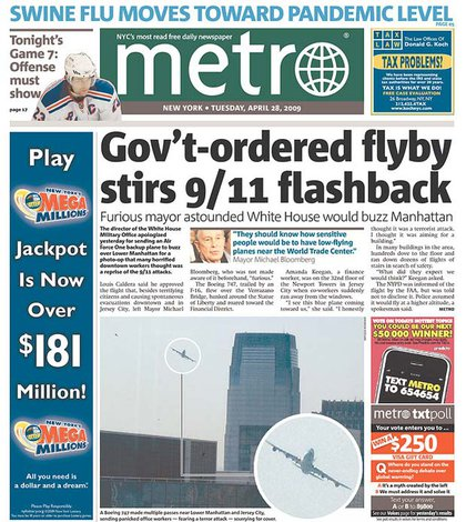 Metro goes with a headline with a photograph somewhere in there.