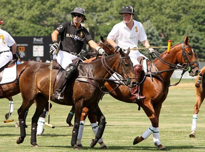 Nacho Figueres and Prince Harry playing polo