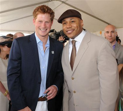 Prince Harry and LL Cool J, before the match