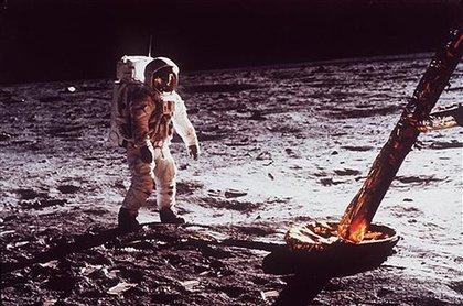 Astronaut Edwin Aldrin walks by the footpad of the Apollo 11 Lunar Module on July 20, 1969