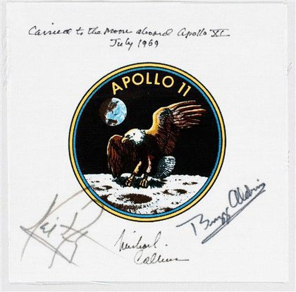 A uniform emblem signifying the Apollo 11 mission signed by the three Apollo 11 astronauts; it sold for $61,000 last week at Bonhams auction house