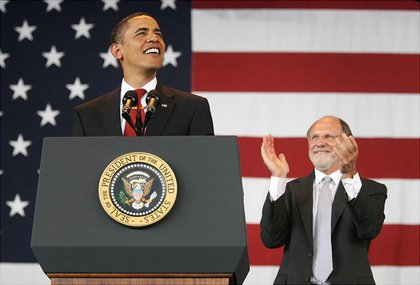 Speaking at a rally for NJ Governor Corzine