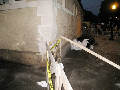 There did not appear to be much structural damage to the corner, but there was a barrier set up.