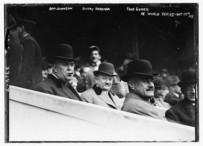 Left to right, Ban Johnson, president of the American League; Garry Herrmann, president of baseball's National Commission; Thomas Lynch, president of the National League at Game 3 of the World Series on October 17, 1911 at the Polo Grounds. The Philadelphia Athletics would beat the New York Giants 3-2 in 11 innings and win the series 4-2.