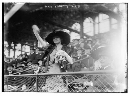 Charley Ebbets' youngest daughter Miss Genevieve Ebbets, at the opening of Ebbets Field on April 5, 1913.