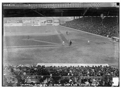 The first exhibition game at Ebbets Field on April 5, 1913.
