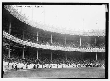 Game one of the 1912 World Series between the Boston Red Sox and the New York Giants at the Polo Grounds on October 8. Boston won the game 4-3 and the series 4-3 in 8 games (there was one tie).