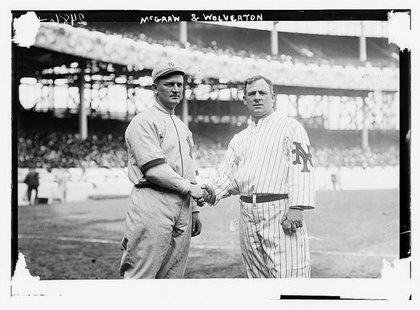 Harry Wolverton, left, manager of the New York Highlanders, with John McGraw, manager of the New York Giants at the Polo Grounds in 1912.
