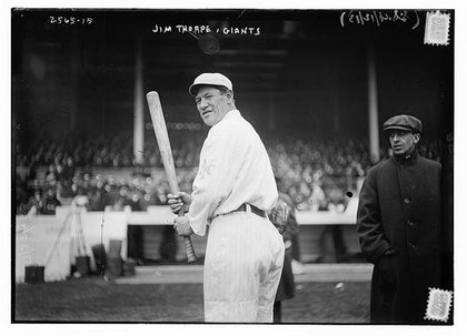 Jim Thorpe of the New York Giants at the Polo Grounds in 1913.