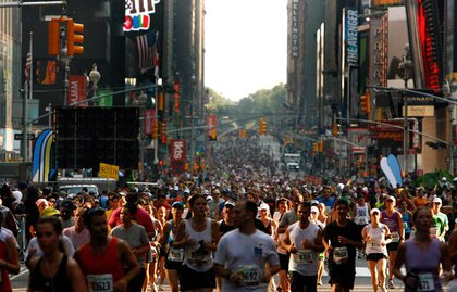 Times Square, full of runners