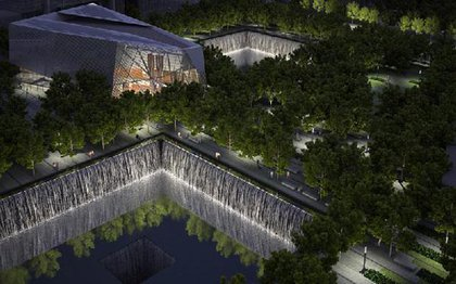 A nighttime rendering of the memorial and museum