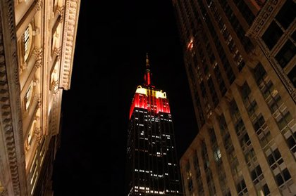 The Empire State Building went red and yellow last night for China.