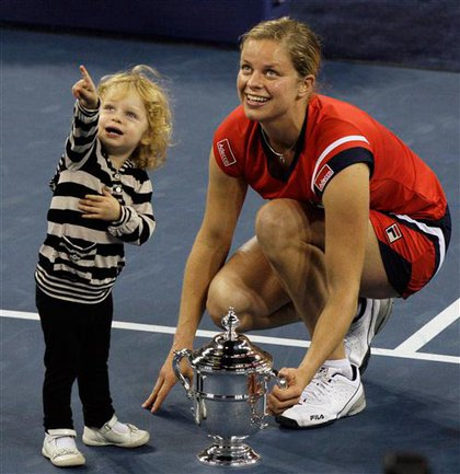 Kim Clijsters and daughter Jada, after Clijsters' U.S. Open win