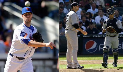 At left, John Maine shines for the Mets while, at right, Joba Chamberlain has a second inning chat with Jorge Posada