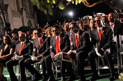 Janet Jackson, Randy Jackson, Jackie Jackson, Tito Jackson, Jermaine Jackson and Marlon Jackson at the funeral of brother Michael Jackson